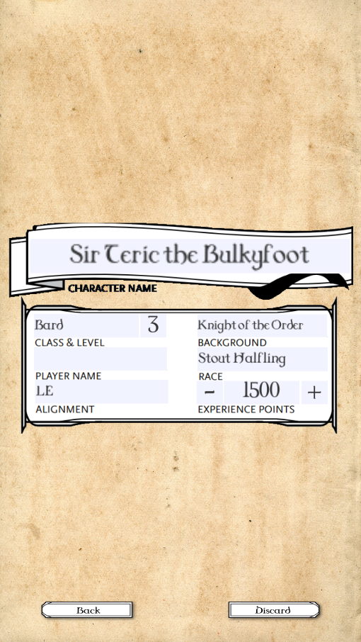 The example of the variable Experience points and character level